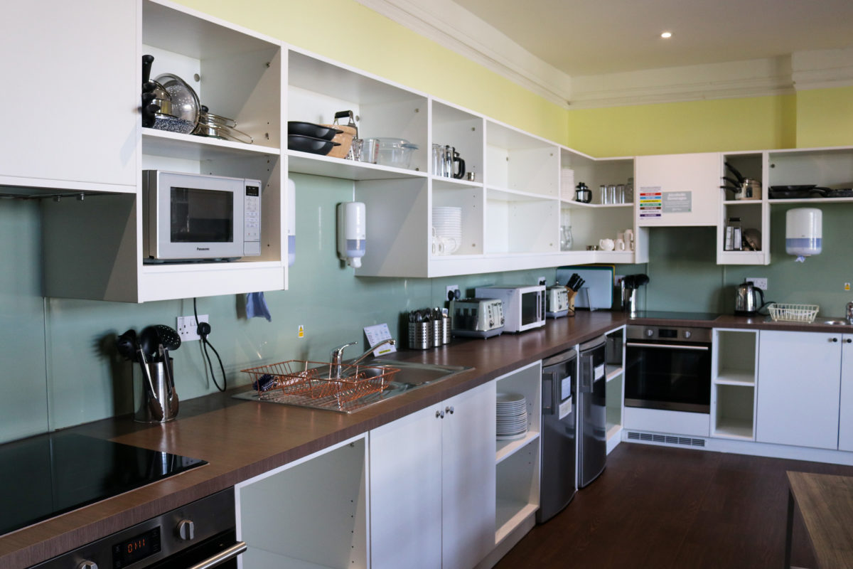 The self-catering kitchen at YHA Swanage
