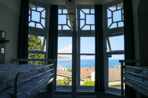 Swanage Bay seen through the window ozone of the family rooms at YHA Swanage