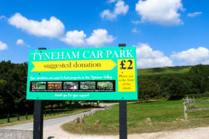 Car parking £2 donation sign in Tyneham, Purbeck