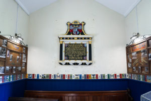 Historical displays in the church of Tyneham village