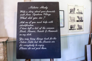 Blackboard on exploring nature on display at the Tyneham school exhibition