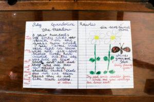 Replica school work in an exercise book at Tyneham School