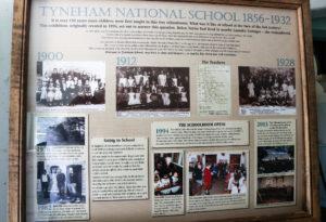 Historical information board in the hallway of Tyneham School, Dorset