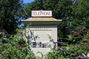 Flowers growing around the old, replica phone box in Tyneham