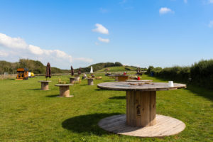 Upcycled café furniture at the Purbeck pop-up on the hill