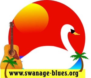 Logo for the Swanage Blues Festival featuring. guitar and a swan