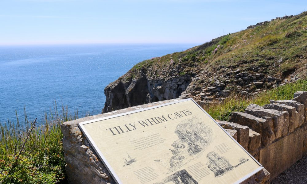 Tilly Whim information poster at Durlston