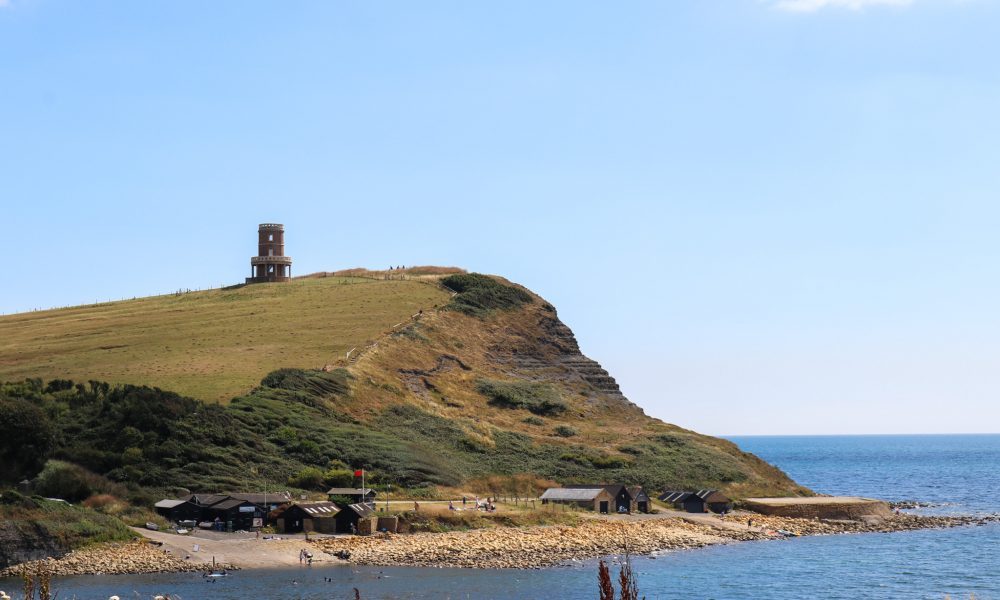 View of Clavell Tower across Kimmeridge Bay