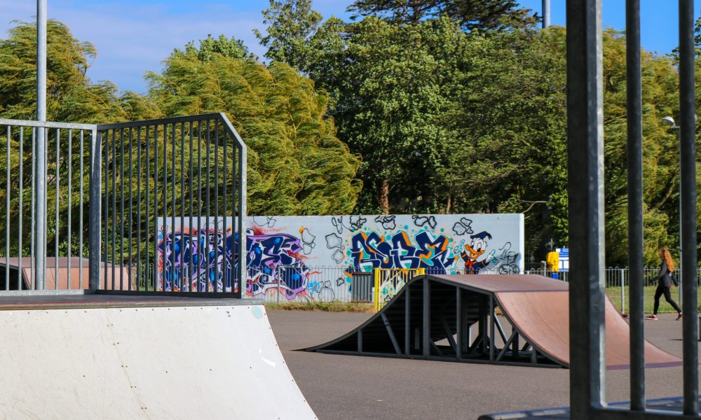 Ramps and graffiti wall in Swanage skate park