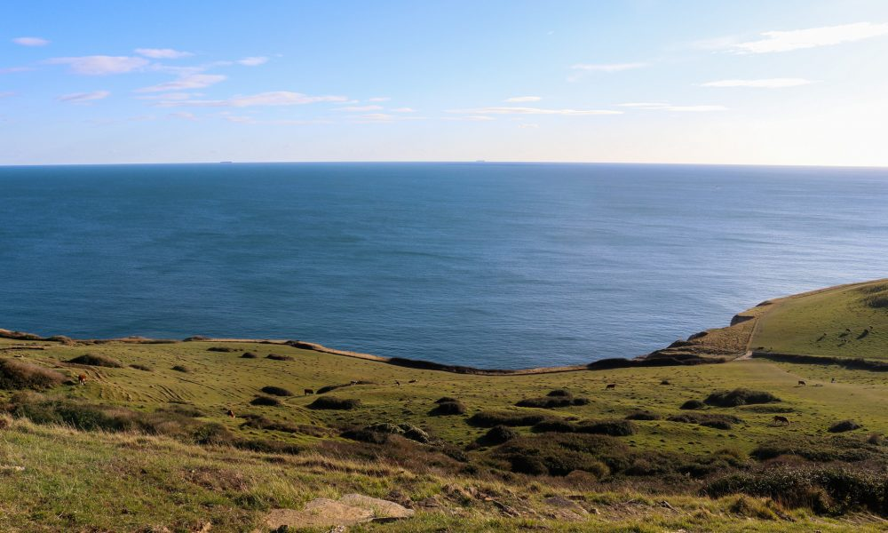The hill at Dancing Ledge looking down to the sea