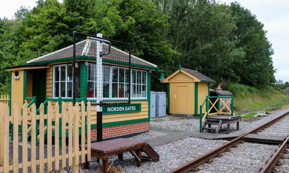 Norden station building and tracks near Corfe Castle