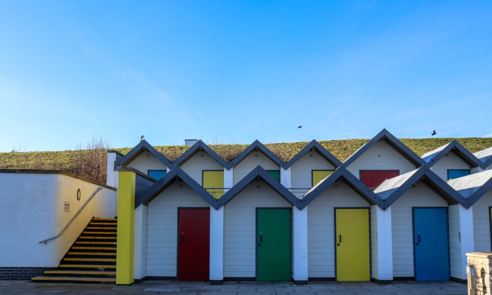 Swanage beach huts on Shore Road