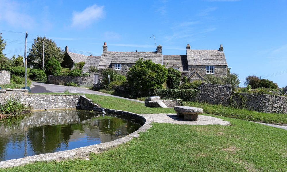 Duck pond in front of houses in Worth Matravers