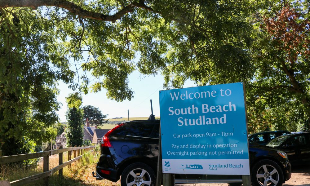 Welcome to South Beach Studland sign in car park