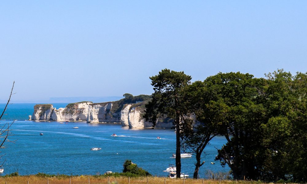 Old Harry Rocks with boats and trees