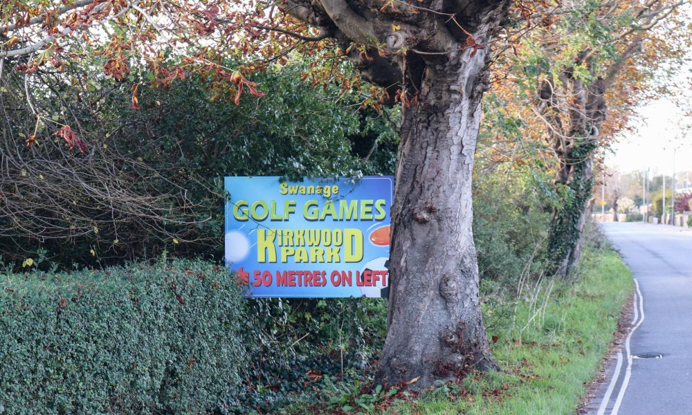 Swanage Golf Games sign on Victoria Road