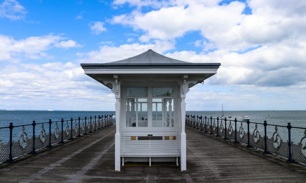 End of Swanage Pier with bench
