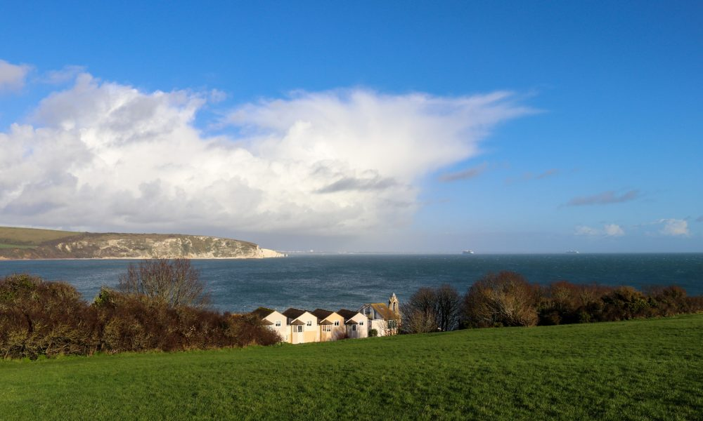 Old Harry Rocks in the distance, viewed from Swanage's Downs