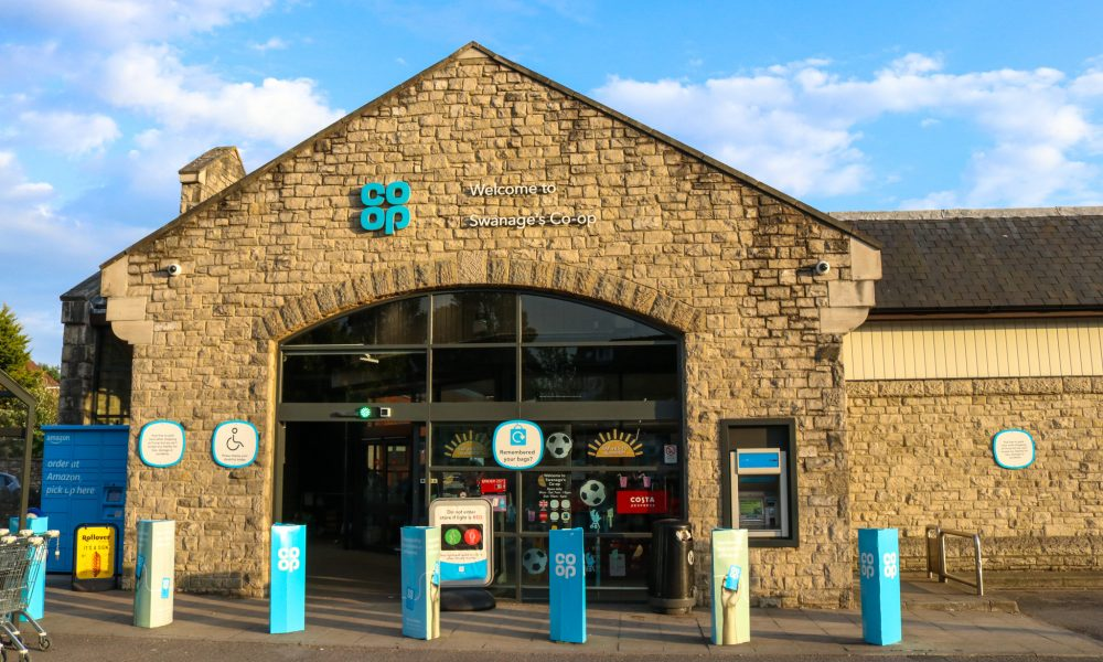 Entrance doors at the Co Op in Swanage town centre