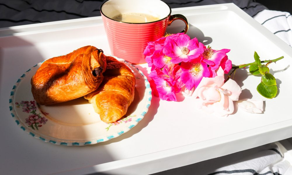 Morning pastries and coffee on a tray, Swanage Airbnb